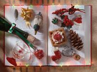 本とクリスマスの飾り 冬 アメリカ