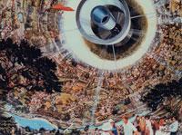 宇宙ステーションの内部 イラスト
