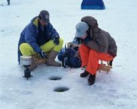 白樺湖にてわかさぎ釣り