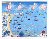 ペリカンとミコノス島の海