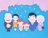 入学式の3世代の家族とサクラの花 クラフト