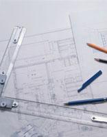 ドラフターの上の設計図