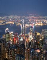 ビクトリアピークからみたビル群の夜景 香港
