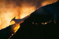 夜間の消火活動をする消防飛行艇カナディア