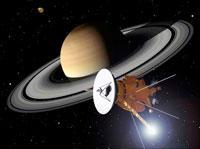 土星に接近するカッシーニを描いた作品