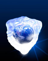 Earth encased in ice  computer artwork