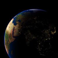 Asia at night  satellite image