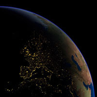 Europe at night  satellite image