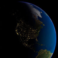 North America at night  satellite image