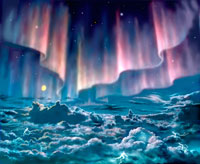 Aurorae on Jupiter, artwork