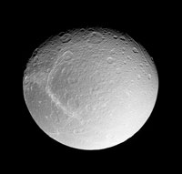 Moon Dione of Saturn, Cassini image