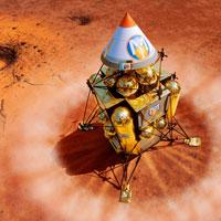 Spacecraft lands on Mars, artwork