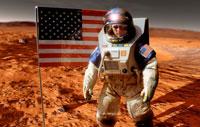 Astronaut on Mars with US flag, artwork