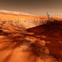 Astronaut on edge of Martian crater, artwork