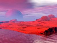 Settlement on an alien planet, computer artwork