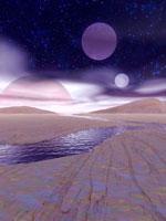 Alien landscape at night, computer artwork