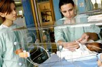 未熟児に付き添う看護師たち