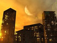 廃墟の建物と月