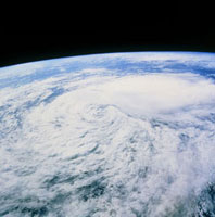 Cloud swirl from tropical storm Javier, STS-46