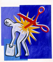 Abstract artwork depicting lower back pain