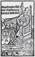 14th C. woodcut showing student at dissection