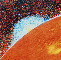 Voyager 1 image of a volcanic plume on Io
