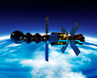 Spaceship orbiting Earth�Cartwork