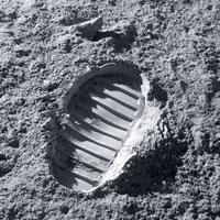 Apollo bootprint on the Moon