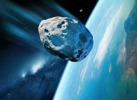 Asteroid approaching Earth,artwork