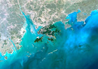 Hong Kong and Macao,satellite image