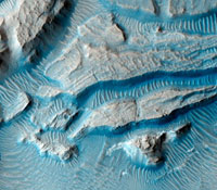 Martian crater rim,satellite image