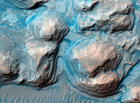 Layered Martian terrain,satellite image