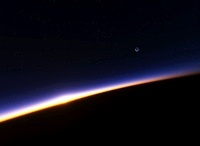 Sunset and Moon from orbit, artwork