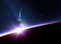 Sunset in Earth orbit, artwork