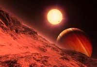 Alien planetary system, artwork 01809027014| 写真素材・ストックフォト・画像・イラスト素材|アマナイメージズ