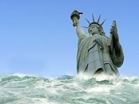 Tsunami engulfing Statue of Liberty 01809027281| 写真素材・ストックフォト・画像・イラスト素材|アマナイメージズ