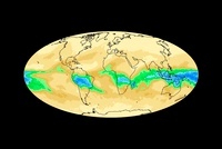 Global water vapour levels, January 2003