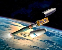 MetOp weather satellite launch, artwork 01809027731| 写真素材・ストックフォト・画像・イラスト素材|アマナイメージズ