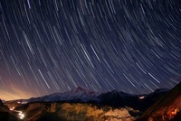 Star trails over Damavand volcano, Iran