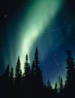 Aurora Borealis or northern lights, with comet