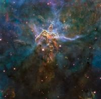 Carina Nebula features, HST image