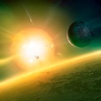 Alien planetary system, artwork