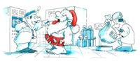 Santa's medical exam, artwork