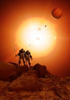 Alien planet exploration, artwork