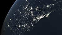 North America, eastern seaboard at night