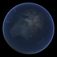 Australia and New Zealand at night