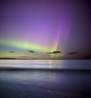 Aurora borealis, Druridge Bay, UK