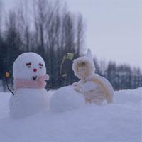 雪だるまと丘の妖精人形のアップ フォトイラスト 美瑛