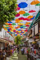 レストラン街と傘
