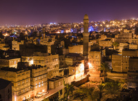 サナア旧市街/俯瞰/夜景
